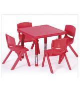 Plastic Square Table Red